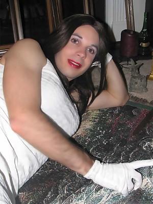 Crossdresser sissy in white tights fingering her ass
